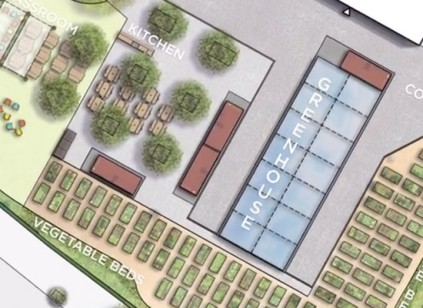 Rendering of a garden and greenhouse.
