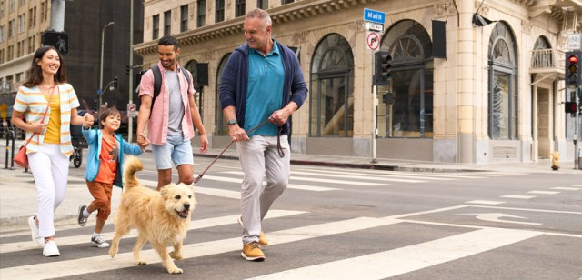 A family and a dog walking down a city sidewalk.
