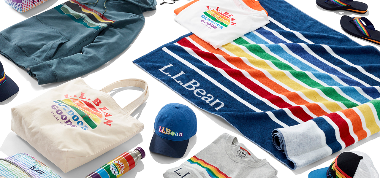 A collection of several Pride-inspired products.