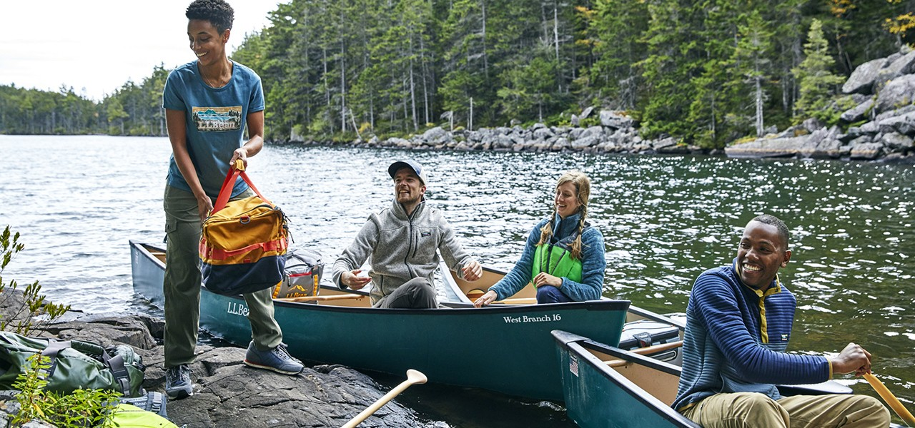four friends canoe camping