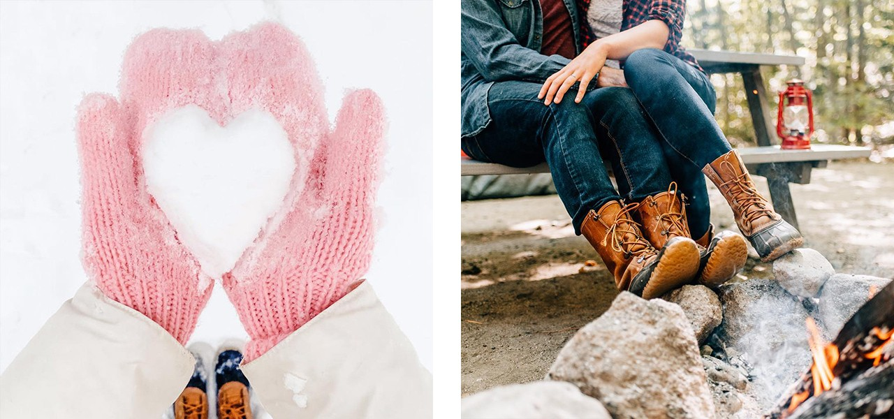 A collage of a snowball in the shape of a heart held by pink mitten clad hands, and a couple sitting closely at a picnic table by a roaring campfire.