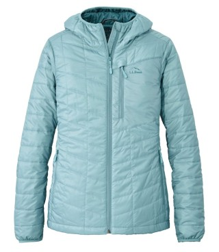 A full-zip insulated jacket with hood.