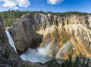 Yellowstone National Park Waterfall and double rainbow.