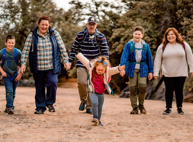Melody Forsyth and family hiking
