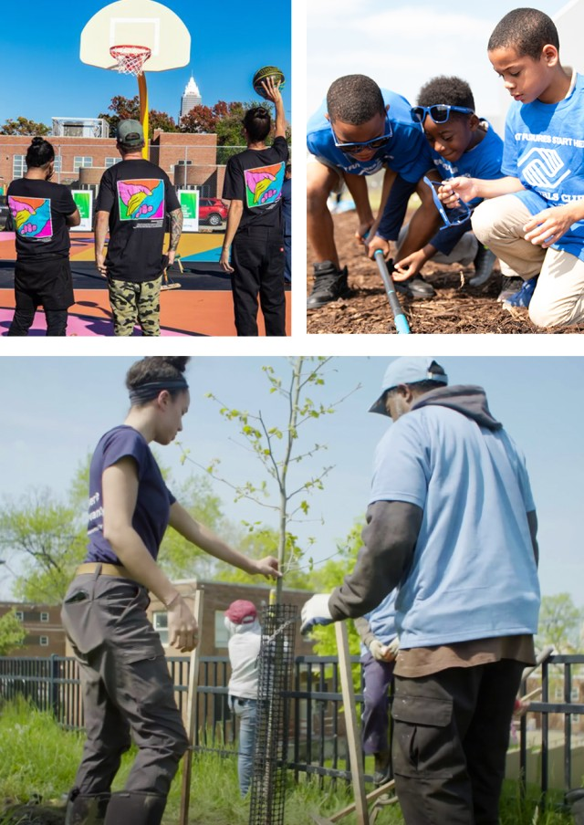 People in bright t-shirts standing on a basketball court, children digging in the dirt and a man and woman planting a tree.