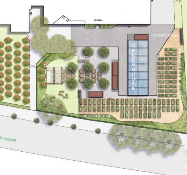 Rendering of a student run garden and greenhouse.