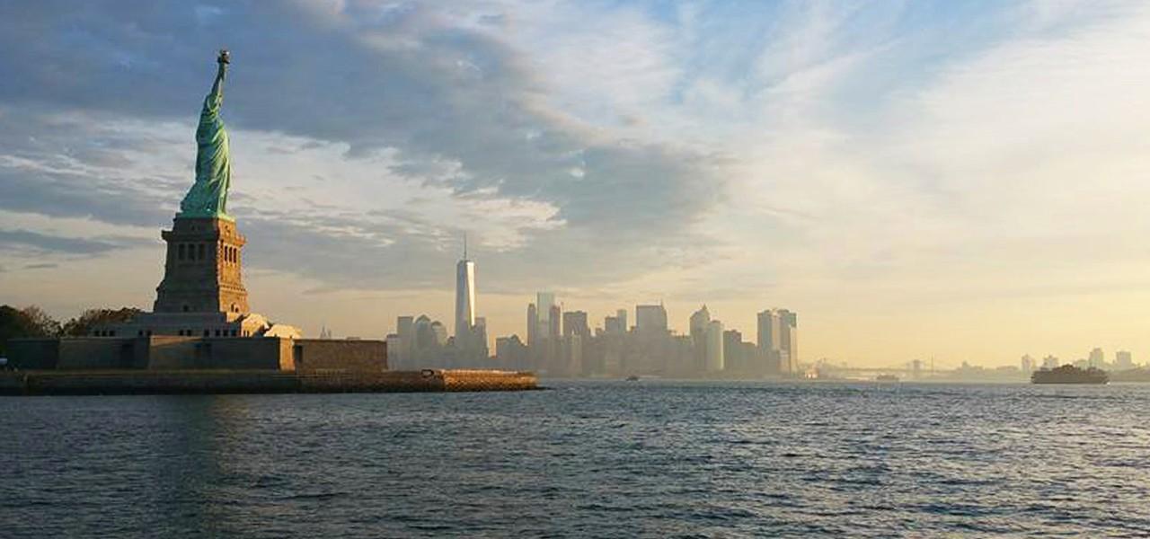 Statue of Liberty overlooking New York harbor