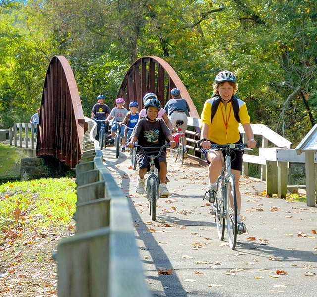 Students ride bikes along the Towpath Trail, Cuyahoga Valley National Park