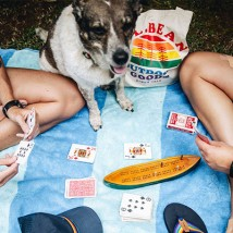 Towo people playing cards and having a picnic with their dog.