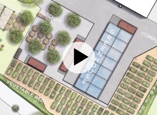 Watercolor rendering of the propsed Rider Farm project at Newark's West Side High School.
