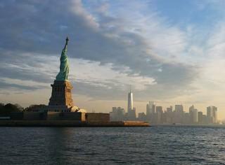 Staue of Liberty overlooking New York harbor