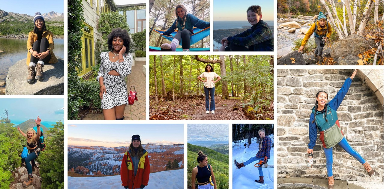 A collage of student ambassadors enjoying the outdoors.