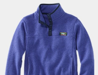 Close-up of a kids' fleece pullover.