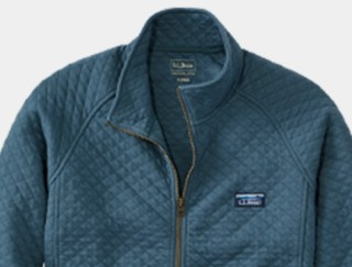Close-up of men's quilted sweatshirt.