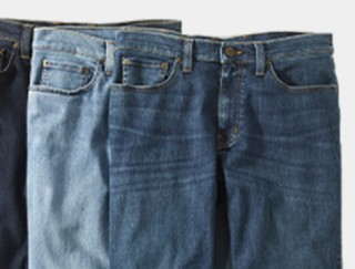 Close-up of 3 pair of men's jeans.