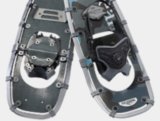 Close-up of a pair of snowshoes.