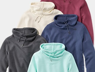 Close-up of 5 funnel-neck sweatshirts.