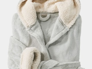 Close-up of a folded women's fleece bathrobe.