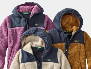 Close-up of 3 kids' fleece jackets.