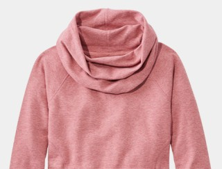 Close-up of a funnel-neck sweatshirt.