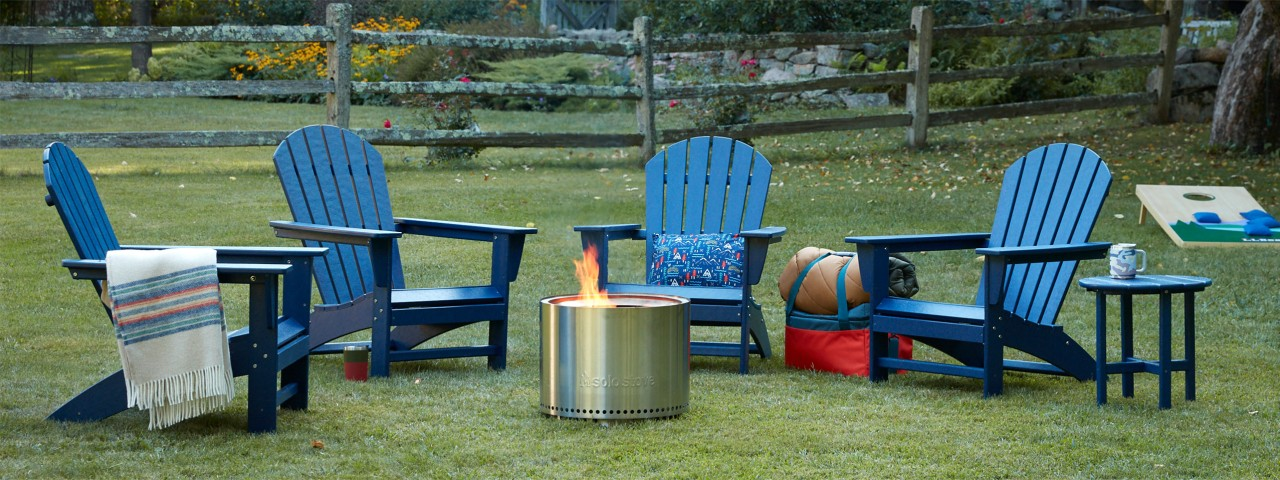 Outdoor furniture seeting with camp fire