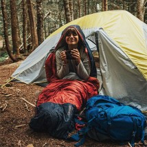Woman outside tent