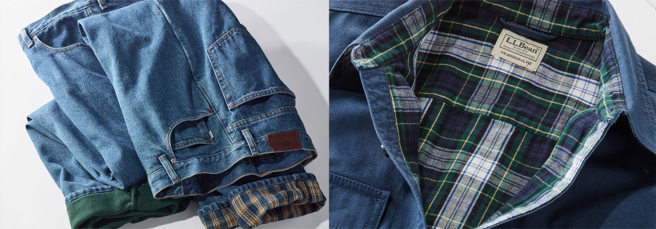 Flannel lined and fleece lined jeans and a flannel lined shirt