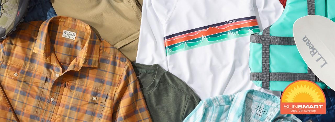 Close-up of collection of SunSmart apparel and SunSmart logo.
