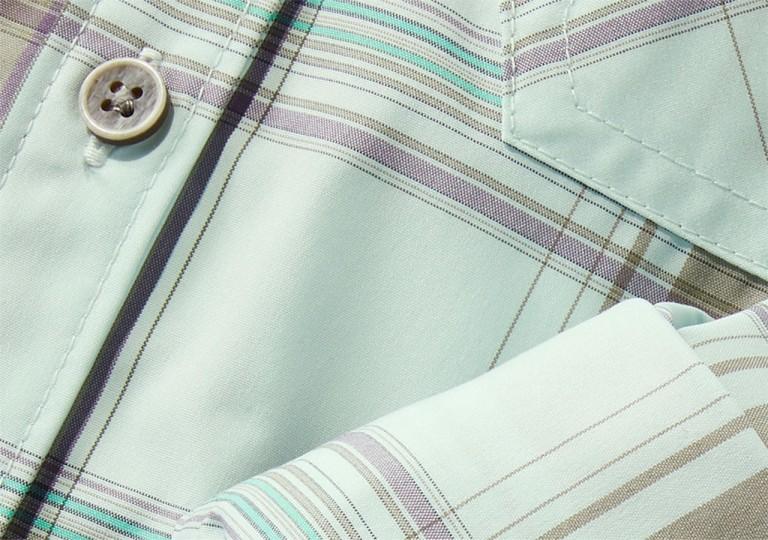 Close-up of shirt made with SunSmart fabric.