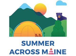 An illustration mountains, sunshine, a tent and a bear - Summer Across Maine.