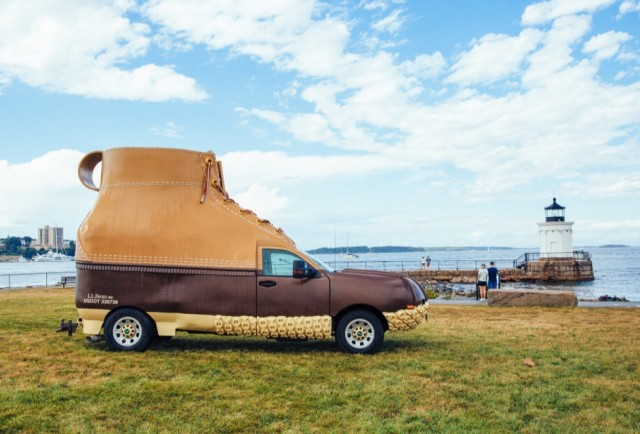 The Bootmobile at a lighthouse in Maine.