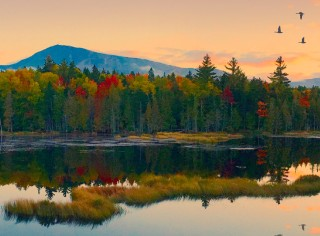 A spectacular fall landscape scene with water in the foreground, colorful trees and mountain in the background, against a pink sky.
