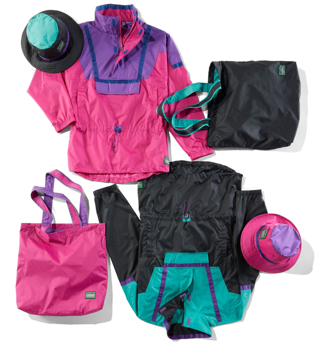 Laydown of 2 anoraks, 2 tote bags and 2 hats.