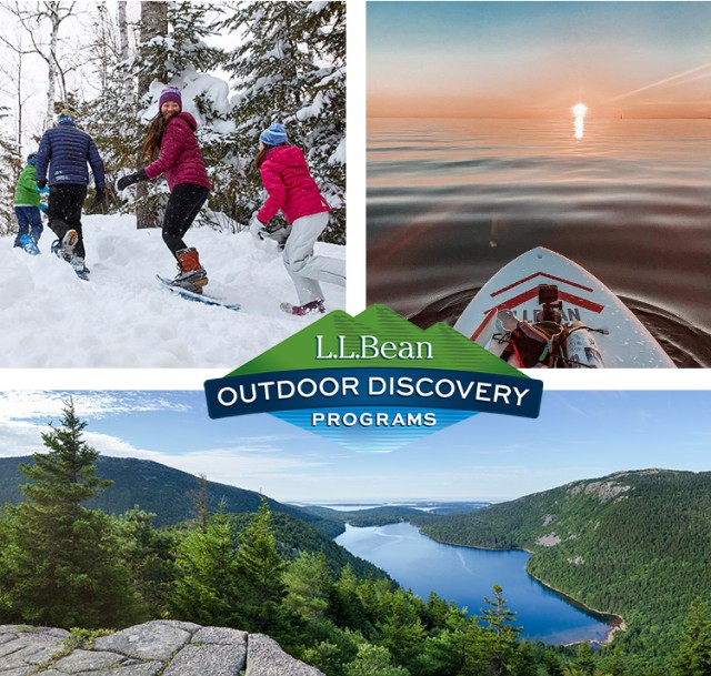 Outdoor Discovery Programs: People snowshoeing, a scenic mountail view and a sunset viewed from a stand up paddleboard