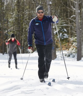 A group cross-country skiing