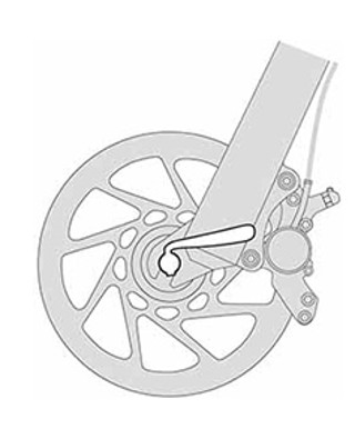 Black and white illustration of bicycle wheel quick-release.