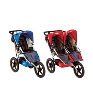 A single and double B.O.B. stroller