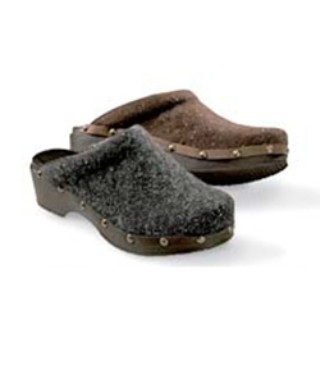 Two Wool Open-Back Comfort Clogs, one charcoal and one brown.