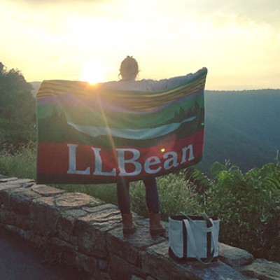 Hiker with L.L.Bean towel.