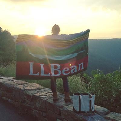Hiker with L.L.Bean towel.