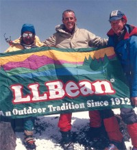 L.L.Bean flag raised on Mt. Everest.