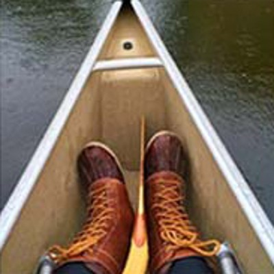 L.L.Bean Boots, in a canoe.