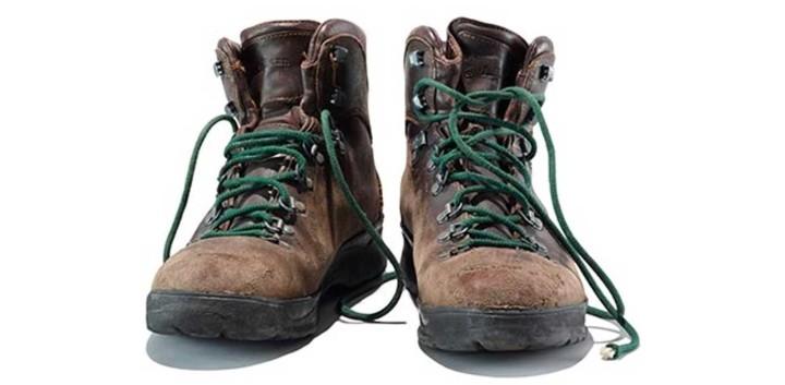 A pair of worn L.L.Bean boots.