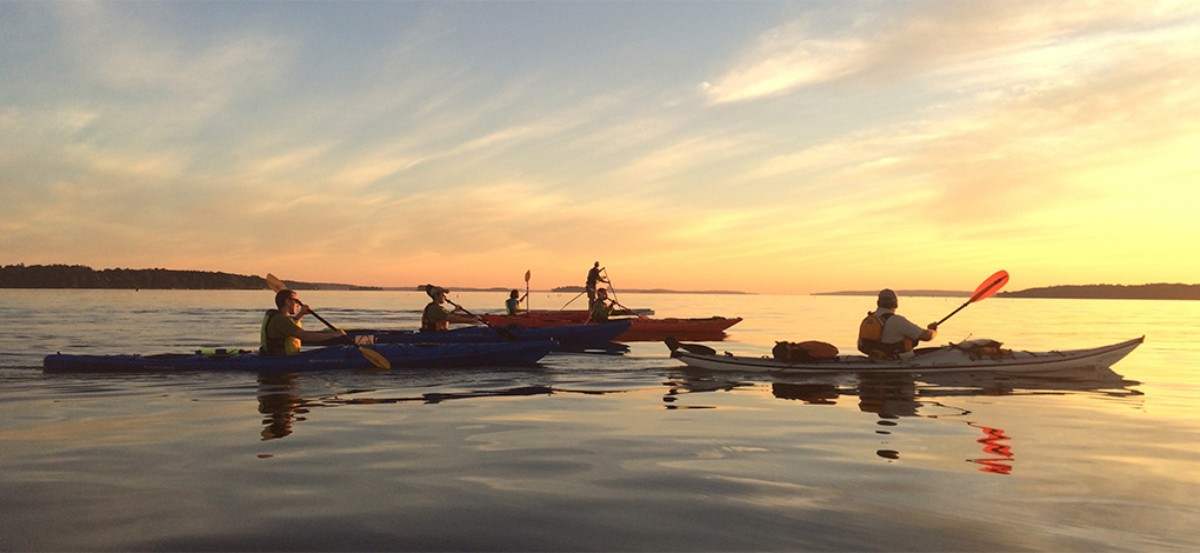 A group of people enjoying a sunset kayak and paddleboard in the ocean.
