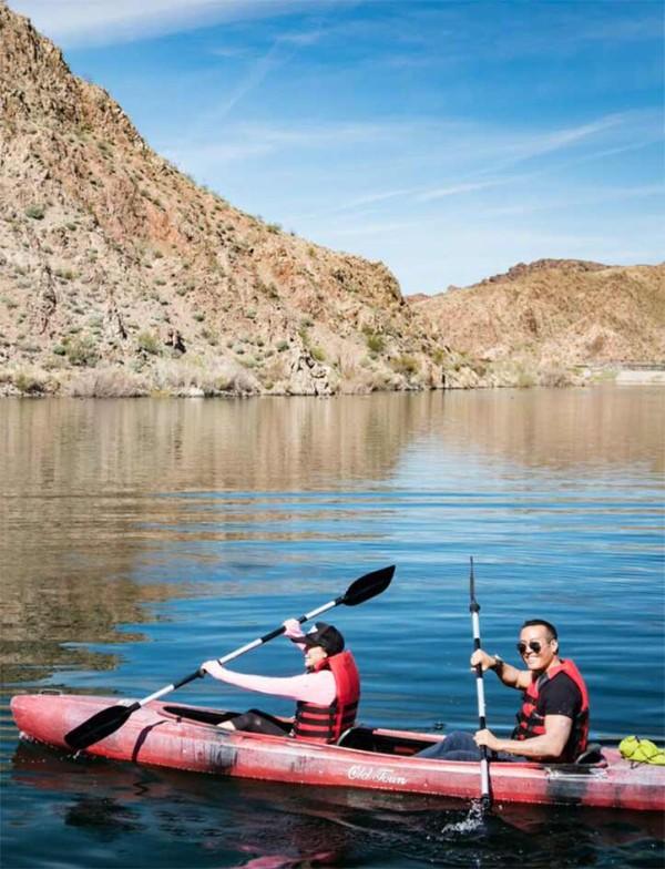 Two people kayaking.