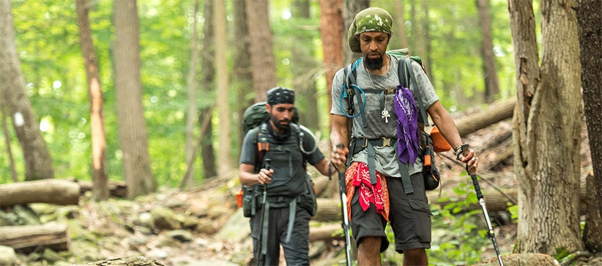 Two hikers on the Appalachian Trail.