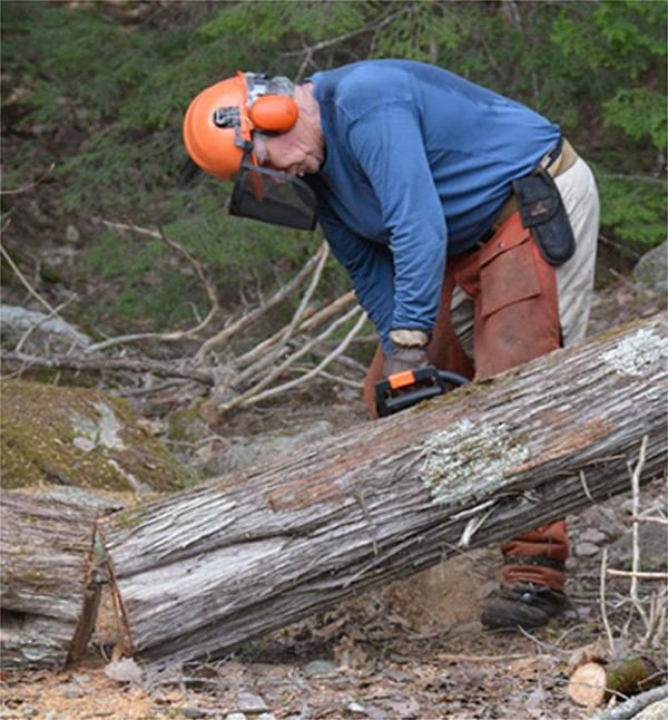 A man moving a log to maintain a trail.