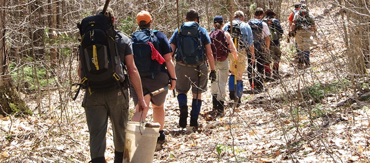 A group of people hiking the Appalachian Trail.