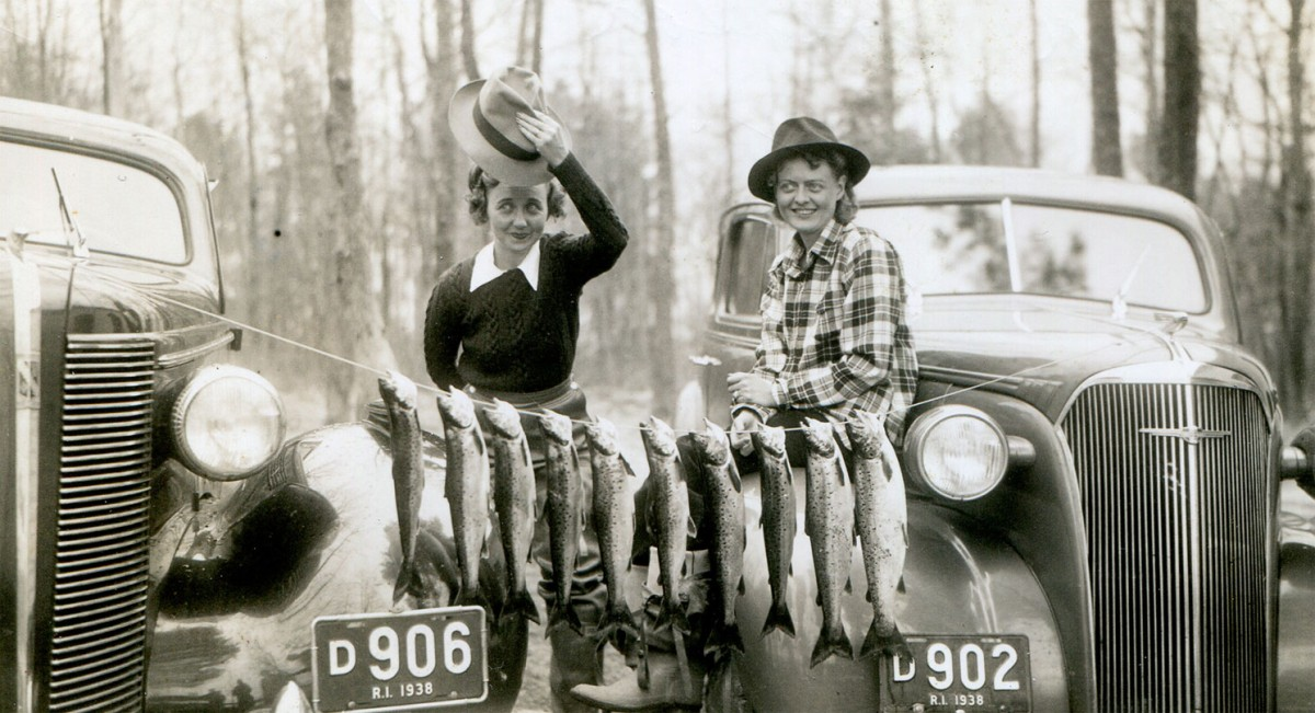 Atha Inerson and Hazel Bean with fish they've caught.
