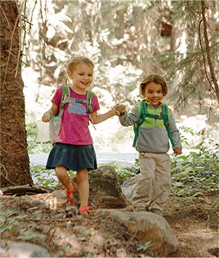 Two kids holding hands hiking a trail in the woods.